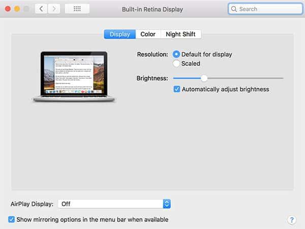 Screen mirroring options