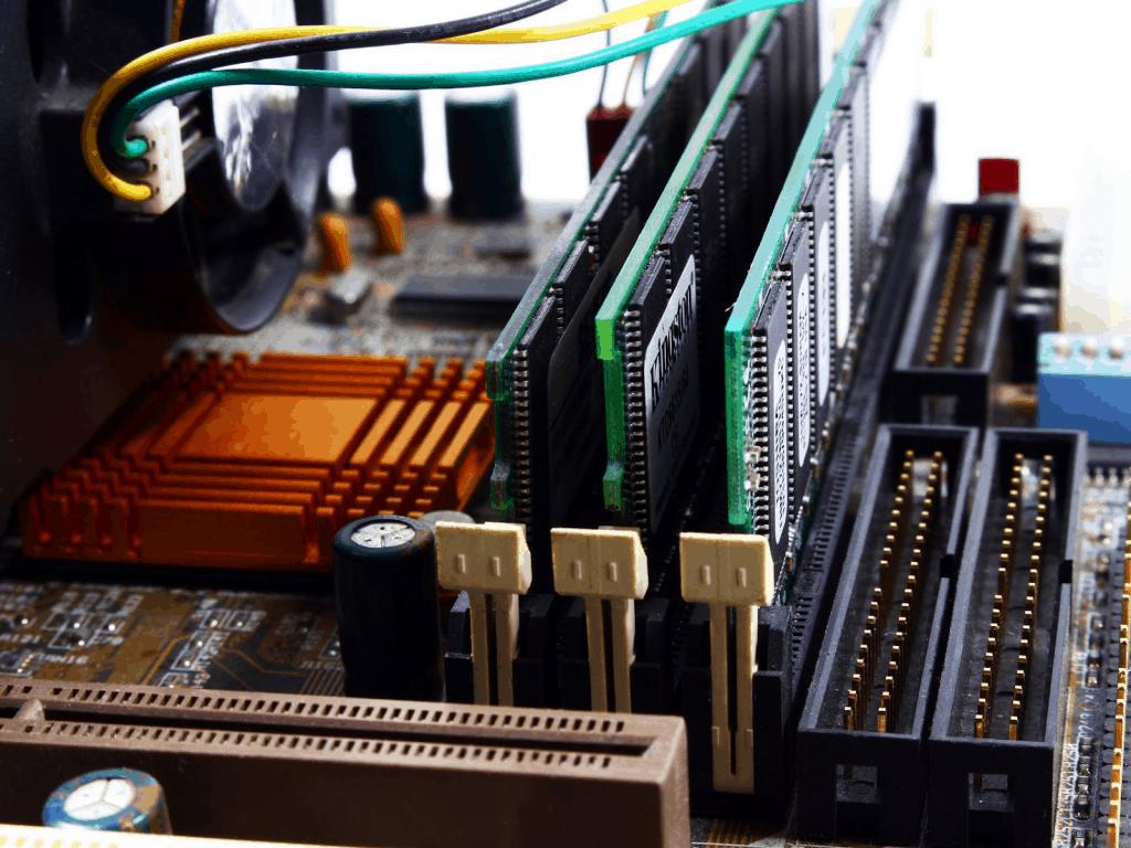 Three RAM sticks in their dedicated slots