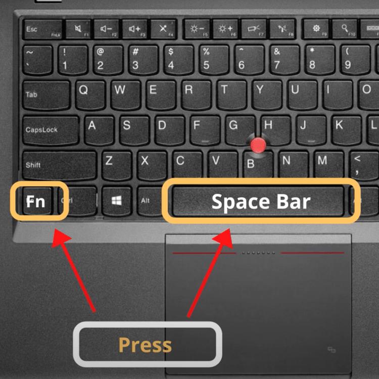 Press Fn + Spacebar key