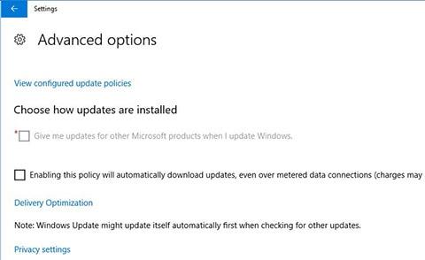 Windows 10 - Advanced Options - Turning on Automatic Updates