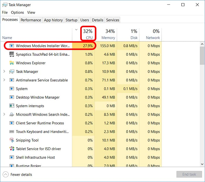 task manager shows high cpu utilization