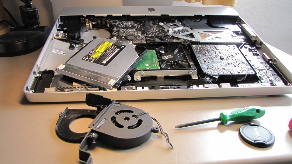 laptop fan removed from back of imac