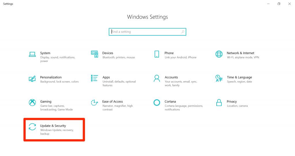 Windows settings - update & security